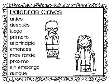 Spanish Bookmarks & Posters with Key Words for Writing