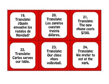 Spanish Boot Verb Task Cards