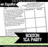 Spanish Boston Tea Party Percents Math Activity | Solve and Snip®
