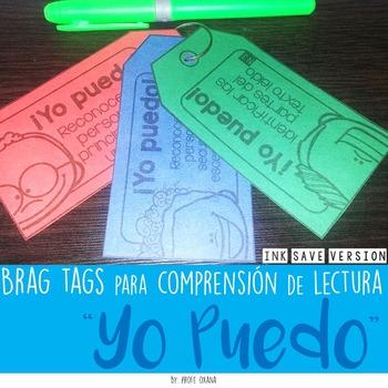 """Spanish Brag tags """"Yo puedo"""" statements {Comprensión de lectura} INK SAVER"""