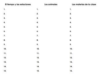 Spanish Brainstorming Packet