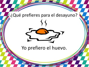 Spanish Breakfast Foods Powerpoint with Preferir - all forms