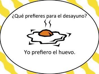 Spanish Breakfast Foods Powerpoint with Preferir - singular only