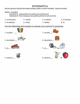 Spanish Breakfast Foods Speaking Activity with Preferir - all forms