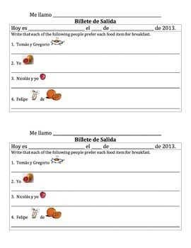 Spanish Breakfast Foods Lesson with Preferir - all forms