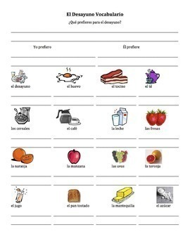 Spanish Breakfast Foods Lesson with Preferir - singular only