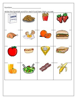 Spanish Breakfast and Lunch Food Vocabulary Worksheet