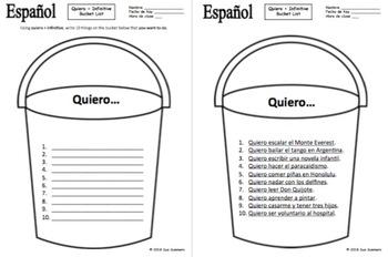 Spanish Bucket List - Ir A Infinitive, Querer Infinitive, or Gustar Infinitive