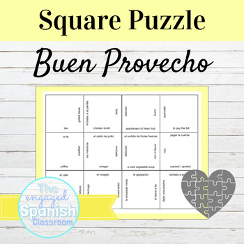 Spanish Buen Provecho Restaurant Vocabulary Puzzle