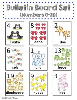 Spanish Bulletin Board Set: Numbers 0-20, Números 1-20, Matching Game...