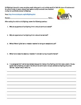 Spanish Bullfighting Lesson Plan - Reading, Questions & Crossword GREAT FOR SUBS