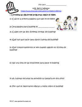Spanish Bullying Video Activity with Comprehension Questions