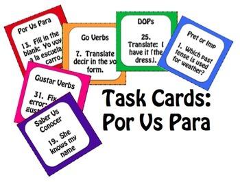 Spanish Bundle:  Task Cards
