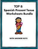 Spanish Verbs Worksheets Bundle - presente, futuro, imperfecto etc. - 8 Sheets!