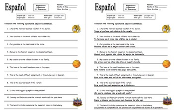 Spanish Bundle of 9 Comparative and Superlative Adjectives