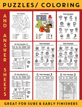Spanish CHRISTMAS BUNDLE (Navidad & Invierno) Puzzles, Flash Cards, Worksheets