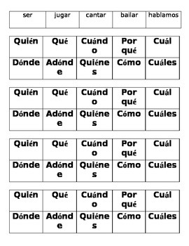 Spanish COLOR WARS Game--Present Tense and Question Words