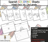 Spanish COLORING Sheets: Flags| Animals| Emotions (Hispani