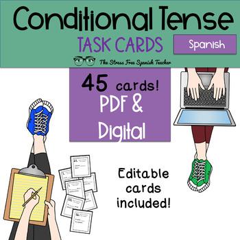Spanish CONDITIONAL Tense Task Cards! 45 Cards Editable! (regular and irregular)