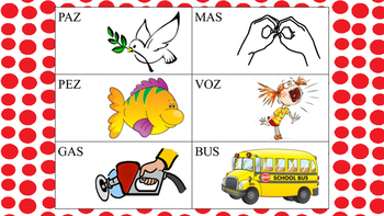 Spanish CVC, VCVC Words with /S/ Sound in Final Position