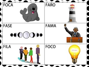 Spanish CVCV & Blend Words with the /f/ Sound in the Initial Position
