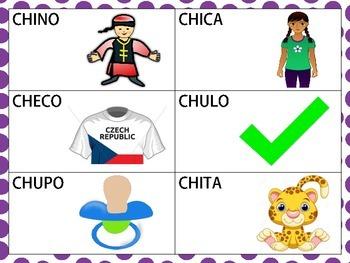 Spanish CVCV & CVCVCV Words with /ch/ Sound in the Initial Position