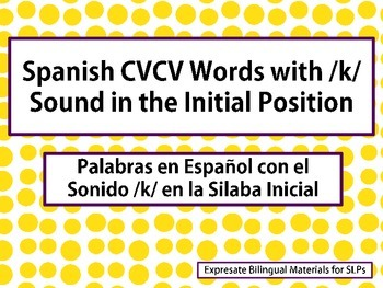 Spanish CVCV Words with /k/ Sound in the Initial Position