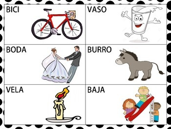 Spanish CVCV words with the /b/ sound in the initial position