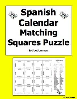 Spanish Calendar 4 x 4 Matching Squares Puzzle - Days, Mon