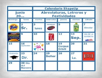 Spanish Calendar, Abbreviations, Signs and Holidays in a Station