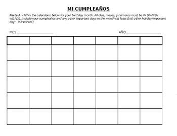 Spanish Calendar Birthday Month Project