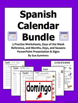 Spanish Calendar Bundle - Days of the Week, Months, and Seasons