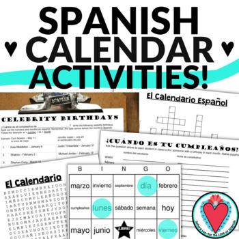 Spanish Calendar Bundle - Speaking Activities, Bingo, Word