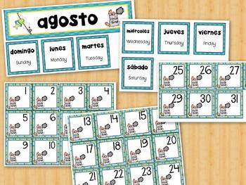 Spanish Calendar Cards AGOSTO AUGUST