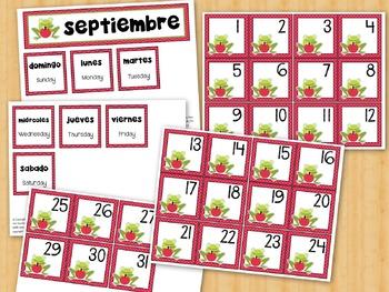 Spanish Calendar Cards SEPTIEMBRE SEPTEMBER