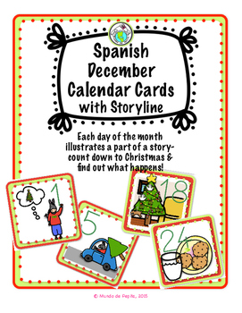 Spanish Calendar Cards for December with Christmas Theme