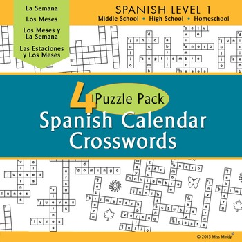 Spanish Calendar Crossword Puzzle Pack - Months, Days of t