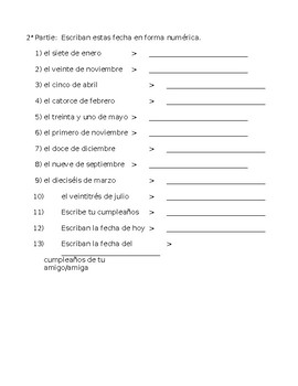 Spanish Calendar/Date Practice