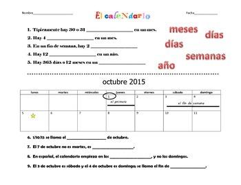 Spanish Calendar - El calendario Worksheet with Vocabulary
