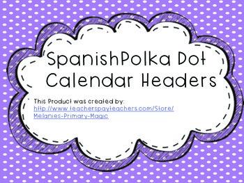 Spanish Calendar Headers
