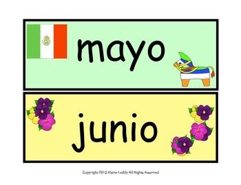 Spanish Calendar Headers and Holidays