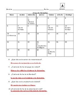 Spanish Calendar Info Gap Speaking Activity
