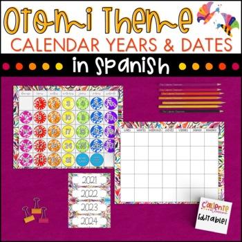 Spanish Calendar Numbers and Years - Otomi Theme