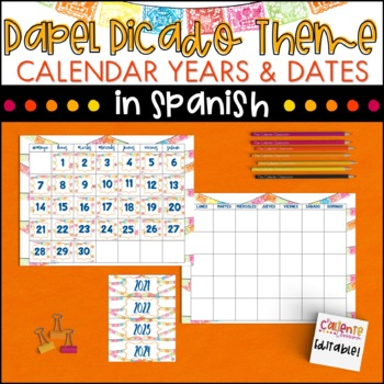 Spanish Calendar Numbers and Years - Papel Picado Theme