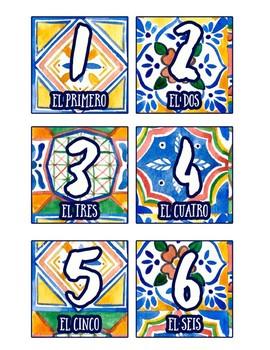 Spanish Calendar Numbers and Years - Talavera Tile Theme