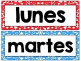 Spanish Calendar Printable Posters - El Calendario - Papel Picado background