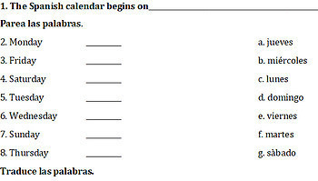 Spanish Calendar Quiz or Practice