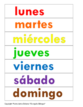 Days of the week in Spanish poster