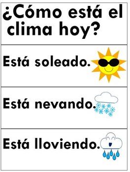 Spanish Calendar Sentence Frames--Bilingual/Immersion{date/season/weather}