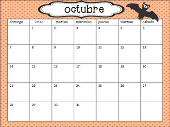 Calendar Set in Spanish- polka dots